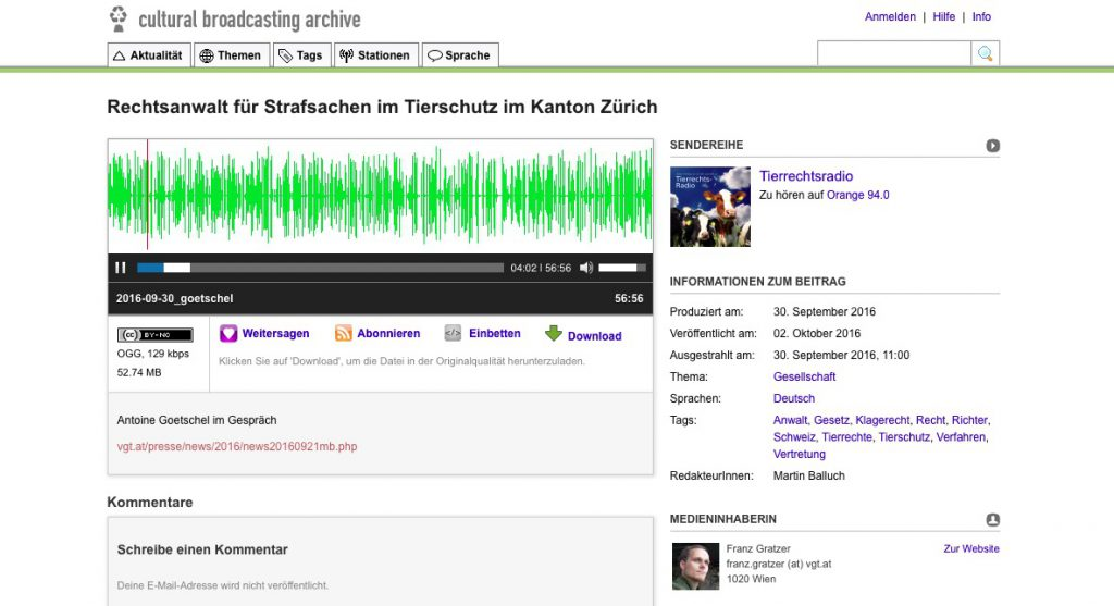 Interview im Tierrechtsradio